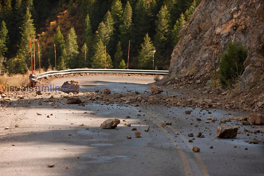 Small rock slide temporarily closing El Portal Road, Black Canyon of the Gunnison National Park, Colorado, USA