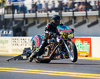 Mar 16, 2018; Gainesville, FL, USA; NHRA nitro top fuel Harley Davidson motorcycle rider Dennis Fisher during qualifying for the Gatornationals at Gainesville Raceway. Mandatory Credit: Mark J. Rebilas-USA TODAY Sports