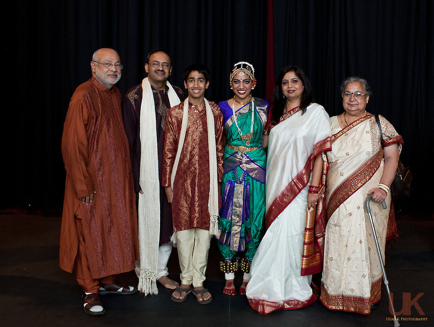 Preksha with her friends and family at the Irving Arts Center before her Arangetram.