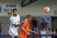 Cameron Humphreys (Manchester City) of England U19 clears the ball during the International match between England U19 and Netherlands U19 at New Bucks Head, Telford, England on 1 September 2016. Photo by Andy Rowland.