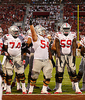 Ohio State Buckeyes offensive linemen Jamarco Jones (74), Billy Price (54) and Isaiah Prince (59) stand together before during Saturday's NCCAA Division I football game against the Oklahoma Sooners at Gaylord Family - Oklahoma Memorial Stadium in Norman, Ok., on September 17, 2016. (Barbara J. Perenic/The Columbus Dispatch)