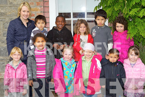 The Junior Infants at Tralee Educate Together, Collis Sands House, Tralee on Tuesday..front row left-right:Megan Jane Lorenz, Lenka Zigova, Grace Flanagan, Kate Gillespie,Sophie Chval,Emily Roche Hayes.Back left -right: (Teacher) Deirdre Clifford,Tariq Wazir,William Jakpovi, Caitriona Doyle O'Brien, Johnny Wazir, Zara Ozaslan. Missing from Picture is Lily Landers Commane.