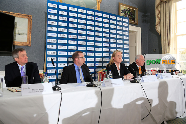 CALL TO ACTION:  <br /> Golf superstar Rory McIlroy is calling on golf clubs across the island of Ireland to help him make this year&rsquo;s Dubai Duty Free Irish Open hosted by the Rory Foundation one of the best in the tournament&rsquo;s illustrious history.  In a letter to every golf club in the Republic of Ireland and Northern Ireland, Rory has requested that clubs come together to support this year&rsquo;s Dubai Duty Free Irish Open, which takes place at The K Club in County Kildare from May 19-22, and he has also produced his own personal &lsquo;five point plan&rsquo; to help clubs and their members to get involved.  Announcing details of the clubs initiative are (l-r) Michael Davern, Chief Executive, The K Club, Barry Funston, Chief Executive, the Rory Foundation, Antonia Beggs, European Tour, George Horan, President Dubai Duty Free and Redmond O&rsquo;Donoghue, Chairman of the Confederation of Golf in Ireland (CGI).<br /> <br /> Picture: Fran Caffrey   Golffile<br /> <br /> <br /> All photos usage must carry mandatory copyright credit (&copy; Golffile   Fran Caffrey)