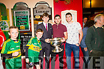 The Home Coming -The  kerry Minor Team are Welcomed back to Dingle on Tuesday Pictured Kerry Minor Connor Geaney with kerry seniors Mike Geaney and Paul Geaney outside Geaney's Bar Dingle