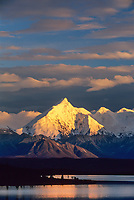 Sunset on mount Brooks, Wonder Lake, Alaska Range, Denali National Park, Alaska