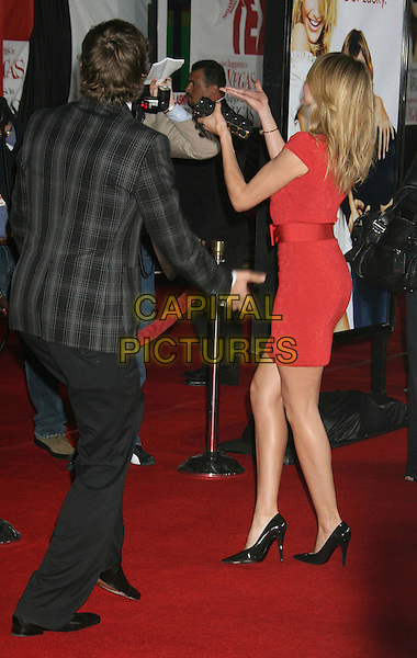"CAMERON DIAZ & ASHTON KUTCHER.""What Happens In Vegas"" Los Angeles Premiere held at the Mann Village Theater, Westwood, California, USA, .01 May 2008..full length back rear behind red dress black shoes .CAP/ADM/RE.©Russ Elliot/Admedia/Capital PIctures"