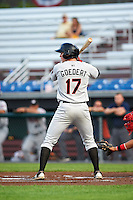 Tri-City ValleyCats designated hitter Connor Goedert (17) at bat during a game against the Auburn Doubledays on August 25, 2016 at Falcon Park in Auburn, New York.  Tri-City defeated Auburn 4-3.  (Mike Janes/Four Seam Images)