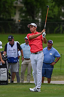 Joaquin Niemann (CHL) watches his tee shot on 7 during round 1 of the 2019 Charles Schwab Challenge, Colonial Country Club, Ft. Worth, Texas,  USA. 5/23/2019.<br /> Picture: Golffile | Ken Murray<br /> <br /> All photo usage must carry mandatory copyright credit (© Golffile | Ken Murray)