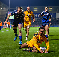 8th November 2019; AJ Bell Stadium, Salford, Lancashire, England; English Premiership Rugby, Sale Sharks versus Coventry Wasps; Zach Kibirige of Wasps scores a try - Editorial Use