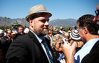 Trainer, Doug O' Neill is interviewed after his horse, I'll Have Another won the 2012 Santa Anita Derby at Santa Anita Park in Arcadia California on April 7, 2012.