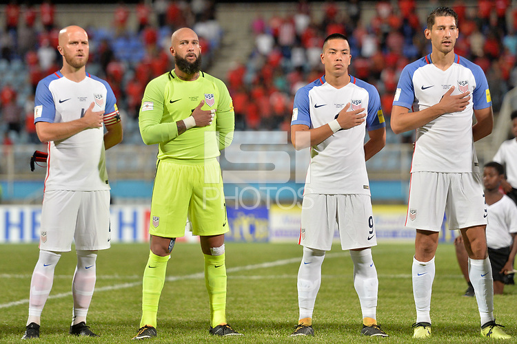 Couva, Trinidad & Tobago - Tuesday Oct. 10, 2017: Michael Bradley, Tim Howard, Bobby Wood, Omar Gonzalez during a 2018 FIFA World Cup Qualifier between the men's national teams of the United States (USA) and Trinidad & Tobago (TRI) at Ato Boldon Stadium.