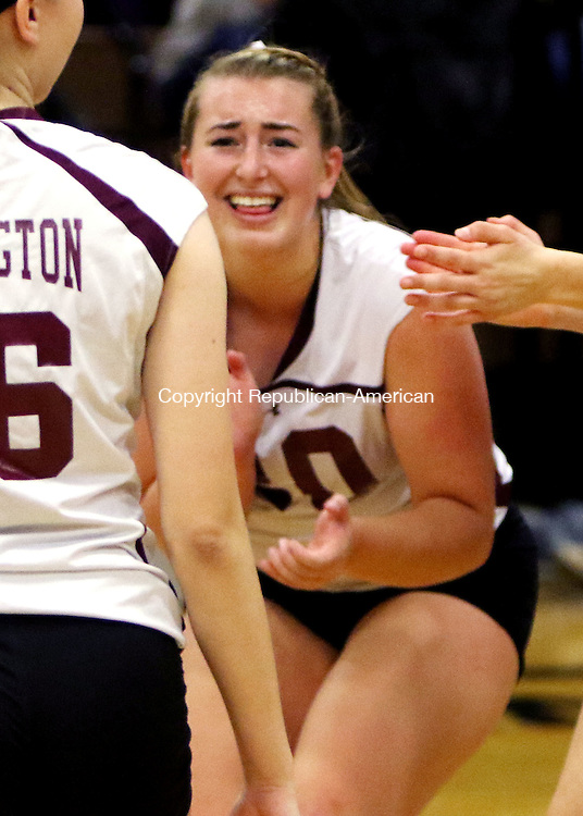 CANTON CT. 15 November 2016-111516SV17-#20 Alexandra Dubois of Torrington celebrates a point with teammates during the CIAC Class M volleyball semifinal against Northwestern at Canton High in Canton Tuesday.<br /> Steven Valenti Republican-American