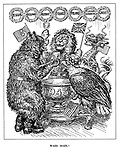 Waes Hael! (the British Lion shares a toast to Good Health with the Russian Bear, the American Eagle and the Chinese dragon infront of wreaths to Belgium, Holland, Norway, France, Poland, Czechoslovakia and Greece as they look forward to 1943)
