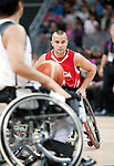 LONDON, ENGLAND 30/08/12: Tyler Miller competes in the Men's Wheelchair Basketball preliminary round CAN vs. JPN at the London 2012 Paralympic Games at the Basketball Arena (Photo by: Courtney Pollock/Canadian Paralympic Committee)