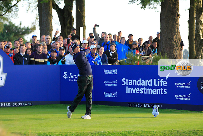 Hunter Mahan (USA) during the Saturday morning Fourballs of the 2014 Ryder Cup at Gleneagles. The 40th Ryder Cup is being played over the PGA Centenary Course at The Gleneagles Hotel, Perthshire from 26th to 28th September 2014.: Picture Eoin Clarke, www.golffile.ie: \27/09/2014\
