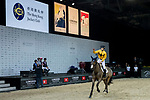 Team DASH jockey Vincent Ho of China riding Fiona D'Ecaussinnes celebrate winning the HKJC Race Of The Riders during the Longines Masters of Hong Kong at the Asia World Expo on 09 February 2018, in Hong Kong, Hong Kong. Photo by Ian Walton / Power Sport Images