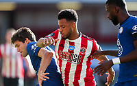 Sheffield United's Lys Mousset battles with Chelsea's Marcos Alonso<br /> <br /> Photographer Alex Dodd/CameraSport<br /> <br /> The Premier League - Sheffield United v Chelsea - Saturday 11th July 2020 - Bramall Lane - Sheffield<br /> <br /> World Copyright © 2020 CameraSport. All rights reserved. 43 Linden Ave. Countesthorpe. Leicester. England. LE8 5PG - Tel: +44 (0) 116 277 4147 - admin@camerasport.com - www.camerasport.com