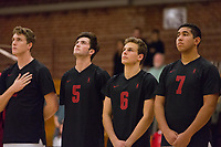 STANFORD, CA - January 2, 2018: JP Reilly, Russell Dervay, Mason Tufuga at Burnham Pavilion. The Stanford Cardinal defeated the Calgary Dinos 3-1.