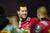 Tim Visser of Harlequins is all smiles after the match. European Rugby Champions Cup match, between Harlequins and Wasps on January 13, 2018 at the Twickenham Stoop in London, England. Photo by: Patrick Khachfe / JMP
