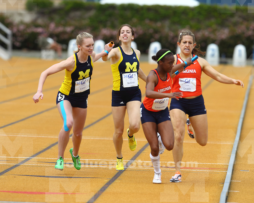 The University of Michigan women's track and field team finished in first place (153 points) in a tri-meet with California and Virginia at Edwards Stadium in Berkeley, Calif., on April 6, 2013.