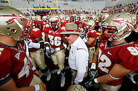 TALLAHASSEE, FL 10/31/09-FSU-NCST FB09 CH63-Florida State Head Coach Bobby Bowden talks to his team prior to the N.C. State game Saturday at Doak Campbell Stadium in Tallahassee. .COLIN HACKLEY PHOTO