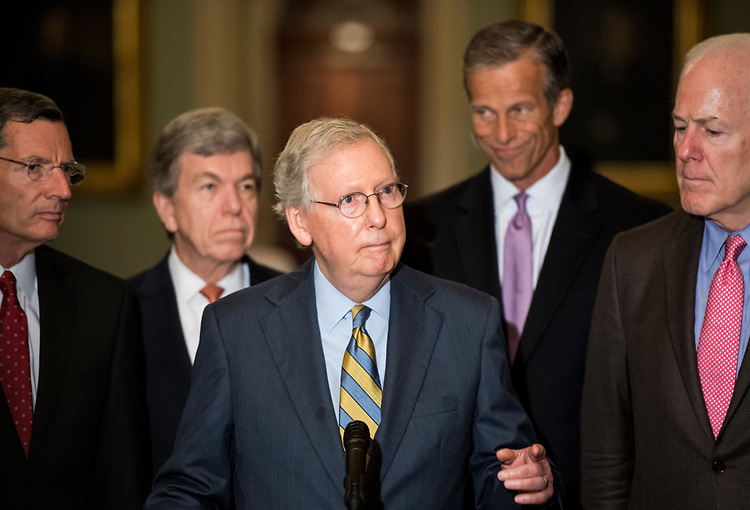 UNITED STATES - JULY 31: From left, Sen. John Barrasso, R-Wyo., Sen. Roy Blunt, R-Mo., Senate Majority Leader Mitch McConnell, R-Ky., Sen. John Thune, R-S. Dak., and Sen. John Cornyn, R-Texas, hold their press conference following the Senate Republicans' policy lunch in the Capitol on Tuesday, July 31, 2018. (Photo By Bill Clark/CQ Roll Call)