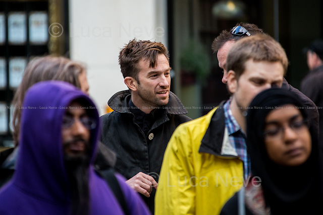 Trenton Oldfield (Australian activist).<br /> <br /> London, 17/08/2014. Today, a rally, organised by the &quot;Free Talha Ahsan Campaign&quot;, was held outside the Home Office to celebrate the homecoming of Talha Ahsan, after a US judge on the 16th July 2014 finally declared him a free man. From the organisers online press release: &lt;&lt;[&hellip;] &quot;Wasn't great to say goodbye?&quot; boasted Theresa May in the cruel extradition of Talha Ahsan. Talha is a British-born citizen, who suffers from Aspergers syndrome like Gary Mckinnon, was extradited to indefinite solitary confinement in US Supermax prison housing death row inmate after over 6 years of detention without trial, charge or prima facie evidence in the UK. [&hellip;] US-UK EXTRADITION is ruining the lives of too many British citizens and guest - and must be reform urgently&gt;&gt;.<br /> <br /> For more information please click here (Wikipedia): http://bit.ly/Xtugqw<br />  <br /> For more information about the campaign please click here: http://freetalha.org/