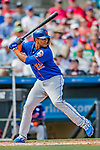 28 February 2019: New York Mets outfielder Juan Lagares at bat during a Spring Training game against the St. Louis Cardinals at Roger Dean Stadium in Jupiter, Florida. The Mets defeated the Cardinals 3-2 in Grapefruit League play. Mandatory Credit: Ed Wolfstein Photo *** RAW (NEF) Image File Available ***