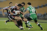 Niva Ta'auso gets scragged high by Francis Bryant during the Air New Zealand rugby game between Counties Manukau Steelers & Manawatu, played at Mt Smart Stadium on the 22nd of September 2006. Counties Manukau 25 - Manawatu 25.