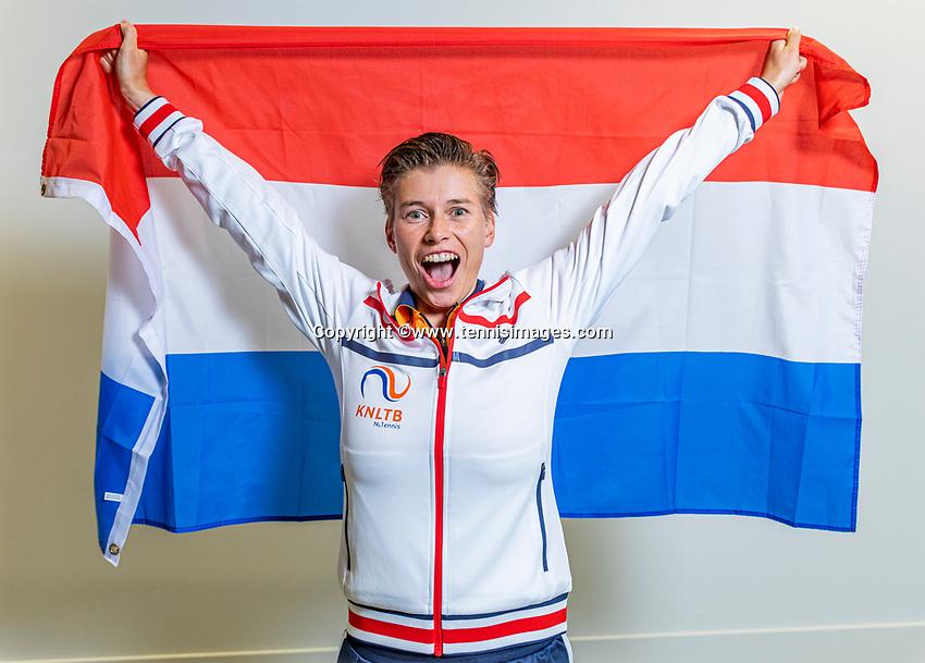 The Hague, The Netherlands, Februari 6, 2020,    Sportcampus, FedCup  Netherlands -  Balarus, Demi Schuurs (NED)<br /> Photo: Tennisimages/Henk Koster