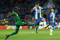 7th November 2019; RCDE Stadium, Barcelona, Catalonia, Spain; UEFA Europa League Football, Real Club Deportiu Espanyol de Barcelona versus PFC Ludogorets Razgrad;  Victor Campuzano of Espanyol is tackled high - Editorial Use