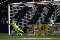 Rochester, NY - Friday April 29, 2016: Western New York Flash goalkeeper Sabrina D'Angelo (1) dives for a shot. The Washington Spirit defeated the Western New York Flash 3-0 during a National Women's Soccer League (NWSL) match at Sahlen's Stadium.