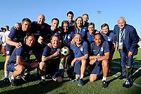 England U18 Head Coach Neil Dewsnip, celebrates winning the Toulon Trophy with his coaches, Joe Edwards, Lee Skyrme, Mark Mason and other staff members including his medical team and security personnel during England Under-18 vs Ivory Coast Under-20, Toulon Tournament Final Football at Stade de Lattre-de-Tassigny on 10th June 2017