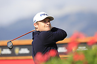 Tyrrell Hatton (ENG) tees off the 18th tee during Thursday's Round 1 of the 2017 Omega European Masters held at Golf Club Crans-Sur-Sierre, Crans Montana, Switzerland. 7th September 2017.<br /> Picture: Eoin Clarke | Golffile<br /> <br /> <br /> All photos usage must carry mandatory copyright credit (&copy; Golffile | Eoin Clarke)