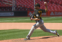 25th July 2020, St Louis, MO, USA;  Pittsburgh Pirates pitcher Chris Stratton (46) pitches in relief during a Major League Baseball game between the Pittsburgh Pirates and the St. Louis Cardinals