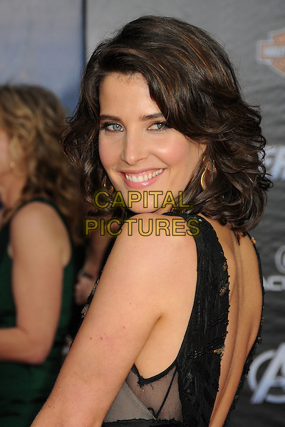 "Cobie Smulders.""Marvel's The Avengers"" World Premiere held at the El Capitan Theatre, Hollywood, California, USA..April 11th, 2012.headshot portrait black orange sleeveless looking over shoulder .CAP/ADM/BP.©Byron Purvis/AdMedia/Capital Pictures."