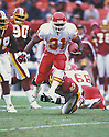 Kansas City Chiefs Priest Holmes (31) during a against the Washington Redskins at FedEx Field in Landover, Maryland on September  30, 2001  The Chiefs beat the Seahawks 45-13. Priest Holmes played for 10 years with 2 teams and was a 3-time Pro Bowler.