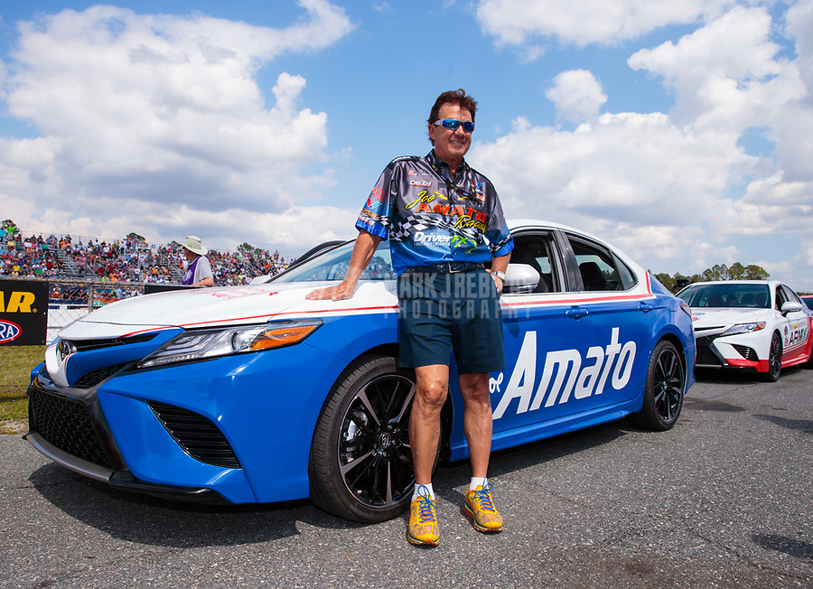"""Mar 15, 2019; Gainesville, FL, USA; NHRA driver Joe Amato during the Toyota """"Unfinished Business"""" legends race at qualifying for the Gatornationals at Gainesville Raceway. Mandatory Credit: Mark J. Rebilas-USA TODAY Sports"""