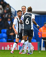 Tom Eaves of Gillingham celebrates his goal with Luke O'Neill of Gillingham and Gabriel Zakuani of Gillingham during Portsmouth vs Gillingham, Sky Bet EFL League 1 Football at Fratton Park on 6th October 2018
