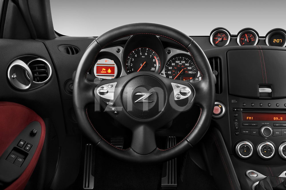 Steering wheel view of a 2010 Nissan 370z 40th Coupe