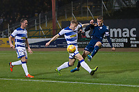 1st November 2019; Dens Park, Dundee, Scotland; Scottish Championship Football, Dundee Football Club versus Greenock Morton; Andrew Nelson of Dundee gets in a cross despite the effort at blocking of Cameron Salkeld of Greenock Morton  - Editorial Use