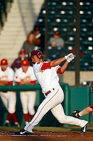 A. J. Ramirez #10 of the USC Trojans bats against the Arizona State Sun Devils at Dedeaux Field on April 12, 2013 in Los Angeles, California. USC defeated Arizona State, 5-0. (Larry Goren/Four Seam Images)