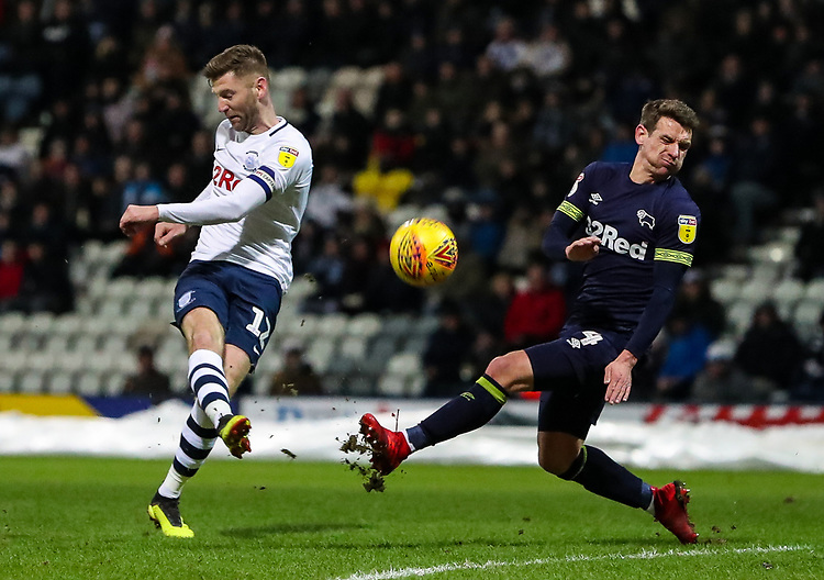Preston North End's Paul Gallagher shoots under pressure from Derby County's Craig Bryson  <br /> <br /> Photographer Andrew Kearns/CameraSport<br /> <br /> The EFL Sky Bet Championship - Preston North End v Derby County - Friday 1st February 2019 - Deepdale Stadium - Preston<br /> <br /> World Copyright © 2019 CameraSport. All rights reserved. 43 Linden Ave. Countesthorpe. Leicester. England. LE8 5PG - Tel: +44 (0) 116 277 4147 - admin@camerasport.com - www.camerasport.com