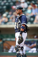 Columbus Clippers catcher Guillermo Quiroz (29) during a game against the Lehigh Valley IronPigs on May 12, 2016 at Huntington Park in Columbus, Ohio.  Lehigh Valley defeated Columbus 2-1.  (Mike Janes/Four Seam Images)