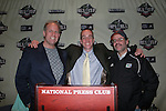 16 November 2007: Soccer America's Ridge Mahoney (l) poses with former Soccer America staffers Will Kuhns (center), currently heading MLS media relations department, and Scott French (r), currently with MLS Magazine. MLS Commissioner Don Garber held his annual Commissioner's Press Conference and State of the League Address at the National Press Club in Washington, DC two days before MLS Cup 2007, Major League Soccer's championship game.