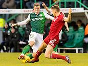2nd February 2019, Easter Road, Edinburgh, Scotland; Ladbrokes Premiership football, Hibernian versus Aberdeen; Tommie Hoban of Aberdeen tackles Florian Kamberi of Hibernian