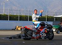 Nov 10, 2013; Pomona, CA, USA; NHRA pro stock motorcycle rider Shawn Gann during the Auto Club Finals at Auto Club Raceway at Pomona. Mandatory Credit: Mark J. Rebilas-