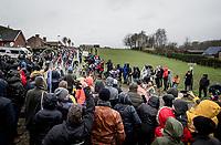 peloton led by Team Trek-Segafredo at the end of the Haaghoek cobbled section<br /> <br /> 75th Omloop Het Nieuwsblad 2020 (1.UWT)<br /> Gent to Ninove (BEL): 200km<br /> <br /> ©kramon