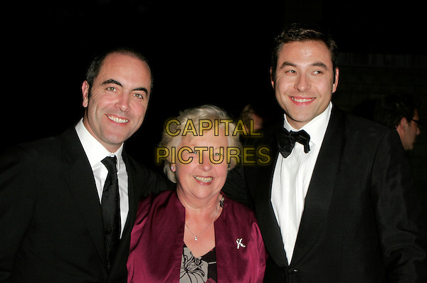 JAMES NESBITT, DAVID WALLIAMS & MOTHER .Red Carpet Arrivals at The British Academy Television Awards (BAFTA) Sponsored by Pioneer, held at the London Palladium, London, England. .May 20th 2007.HALF length black dinner suit tuxedo purple fuchsia jacket mom mum son family bow tie .CAP/AH.©Adam Houghton/Capital Pictures
