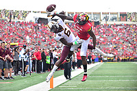College Park, MD - SEPT 22, 2018: Maryland Terrapins defensive back RaVon Davis (2) knocks down a pass intended for Minnesota Golden Gophers wide receiver Tyler Johnson (6) during game between Maryland and Minnesota at Capital One Field at Maryland Stadium in College Park, MD. The Terrapins defeated the Golden Bears 42-13 to move to 3-1 on the season. (Photo by Phil Peters/Media Images International)